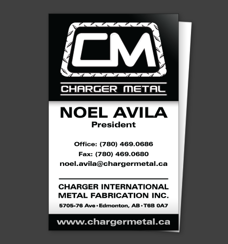Print, Illustration: Charger Metal Business Cards (Front)