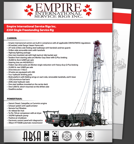 Print, Illustration, Photo Manipulation: E350 Single Freestanding Service Rig Specsheet (Front)