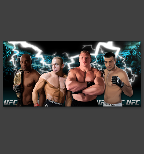 Print, Illustration, Digital Painting: UFC Champions Digital Painting
