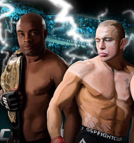 Print, Illustration, Digital Painting: UFC Champions Anderson Silva and Georges St.Pierre