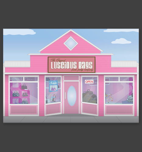 Vector Illustration: Luscious Bags Storefront Illustration