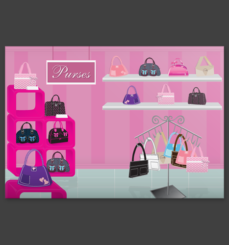 Vector Illustration: Luscious Bags Purse Rack Illustration