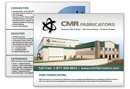 CMR Fabrication | Logo Vectorization, Notepad design, Logo re-creation, Brochure and Advertisement.