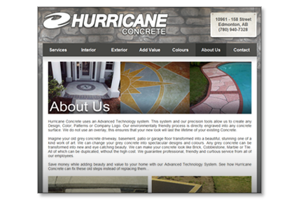 Hurricane Concrete | Website Design, Logo re-design.