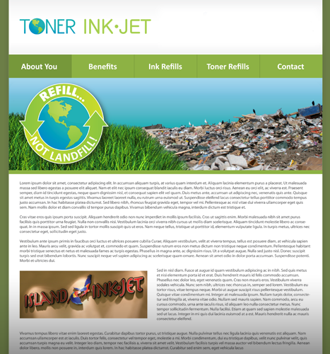 Web Design, Illustration, Photo Manipulation: Toner Ink Website Design