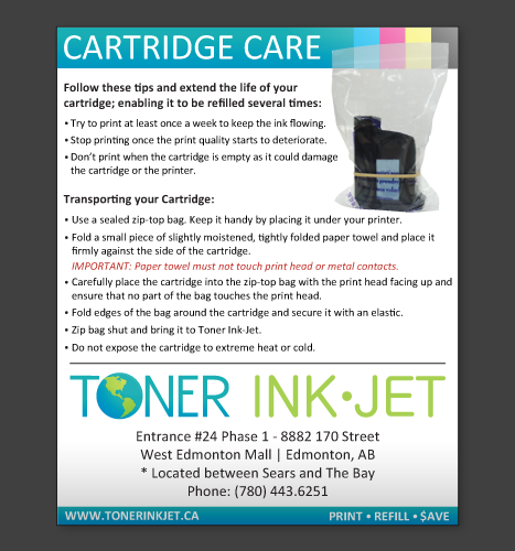 Print, Illustration, Photo Manipulation: Toner Ink Cartridge Care Flyer