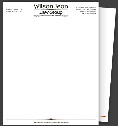 Illustration & Print: Wilson Jeon Law Group Letterhead (Page 1)